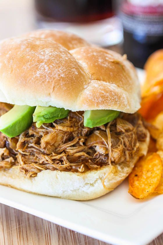 root beer pulled chicken- I used chicken breast and cooked on high for 4 hours. YUMMY.