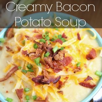 This is a simple, easy go to recipe in my house for creamy potato soup. And just to kick it up a notch we add bacon, give it a try. It is a crowd pleaser
