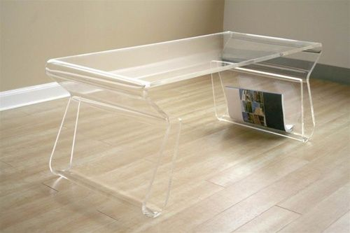 Clear Acrylic Coffee Table   Clear acrylic coffee table with magazine rack, acrylic furniture, ghost chair and more modern contemporary furniture