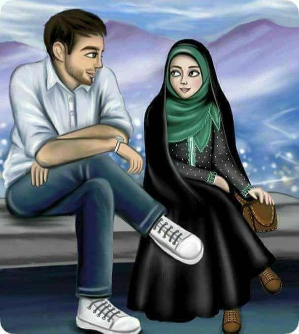 Pin On Beautiful Moment Muslim couple cartoon hd wallpaper