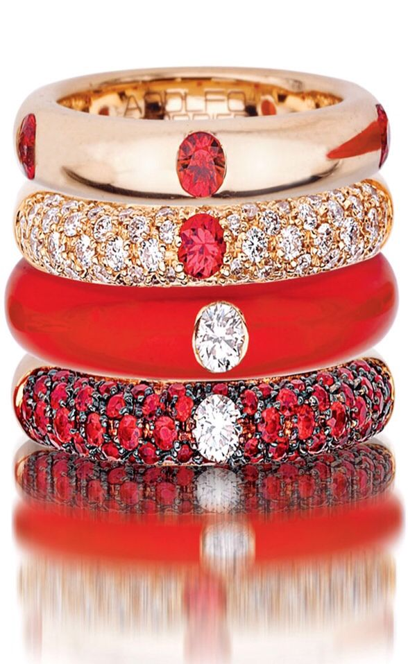 18 Karat Rose Gold, Enamel, Red Sapphire, & Diamond Stack ;--