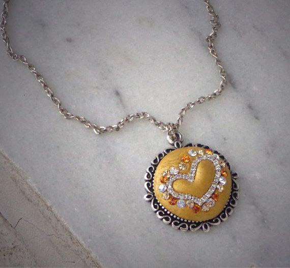 Swarovski  crystal gold  ceralun crystal clay by elenamaratos, $30.00