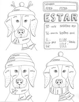 Christmas Navidad Spanish Verb ESTAR Color By Conj