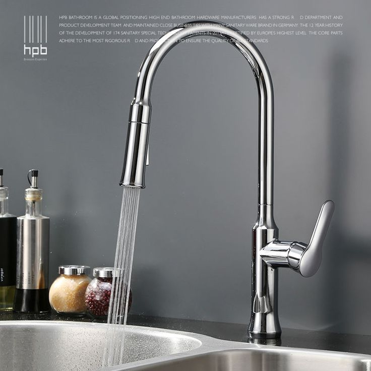 94.61$  Watch now - http://aliftm.worldwells.pw/go.php?t=32732954968 - HPB Brass Chrome Pull Out Spray Rotary Deck Mounted Hot And Cold Water Kitchen Mixer Tap Pb-free Sink Faucet Single Hole HP4110 94.61$