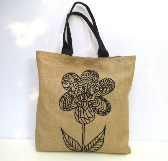 Black flower city jute bag  beach tote bag hand by Apopsis on Etsy
