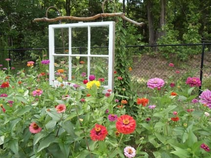 Old window hung on beaver wood held up by two Shepard hooks.: Beaver Woods, Beaver War, Shepards Hooks Repin, Free Hanging Windows, Gardens Babbles, Gardens Flower, Hooks Repin By Pinterest, Flower Plants, Gardens Growing
