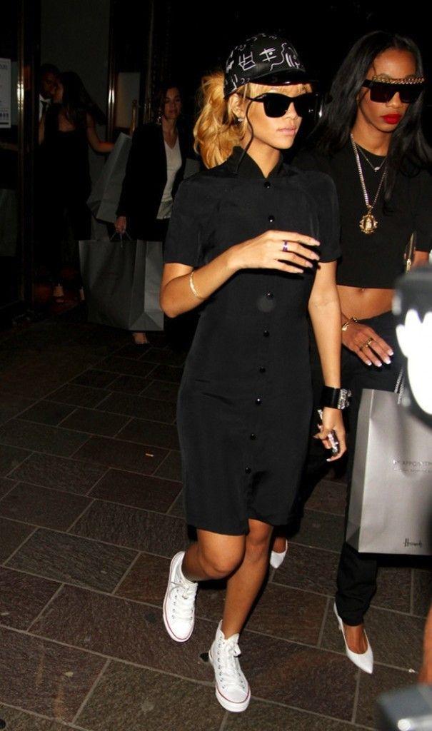 #Rihanna wearing #Converse Chuck Taylor White