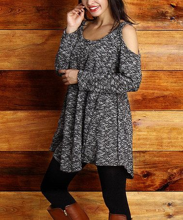 This Charcoal Marble Cutout Tunic - Plus is perfect! #zulilyfinds