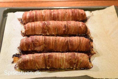 Porrer pakket ind i frikadellefars, og så er hele herligheden pakket ind i bacon. Det blev ret godt! :-) Jeg bruger en helt almindelig frikadellefars. Det er vigtigt, at farsen er lidt fast i det, …