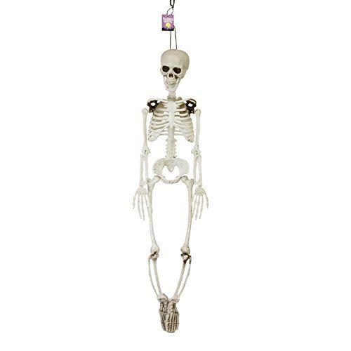 Halloween Haunters 3 Foot Hanging Full Body Skeleton Plastic Prop Decoration Posable Joints Scary Hu Skull And Bones Human Skull Halloween Outdoor Decorations