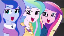 Size: 1360x768 | Tagged: dean cadance, edit, edited screencap, equestria girls, friendship games, looking at you, open mouth, principal celestia, safe, screencap, smiling, spoiler:friendship games, vice principal luna