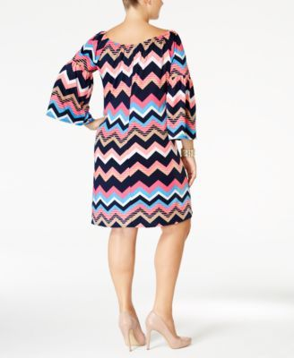 Love Squared Trendy Plus Size Chevron-Print Shift Dress - Multi 1X