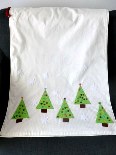 This is the back of the personalised santa sack. hand cut and sewn Christmas trees embellished with buttons and snow