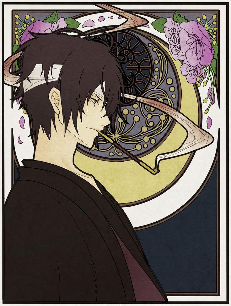Pixiv Id 878410, Gin Tama, Takasugi Shinsuke, Crescent Moon, Art Nouveau, Bandage Over One Eye