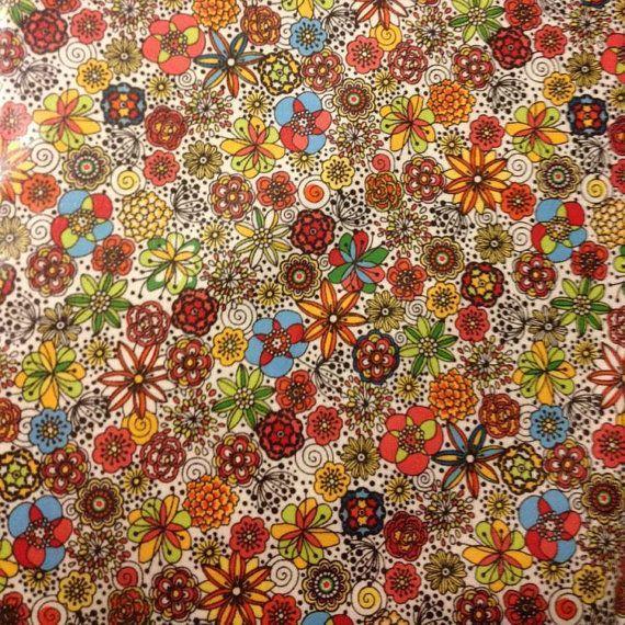 LAMINATED cotton fabric - London Calling yardage (aka oilcloth coated vinyl fabric slicker) WIDE BPA free