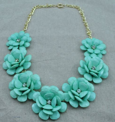 Turquoise/Mint Green Flower Statement necklace Bubble necklace Pink Rosejewlery Jcrew style Bib Necklace, Chunky Necklace