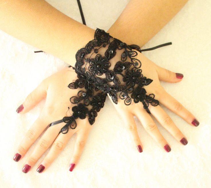 gants noirs de mariage, fête des gants de dentelle gothique, mitaines gants de mariée costume d'Halloween : Autres accessoires par passionis