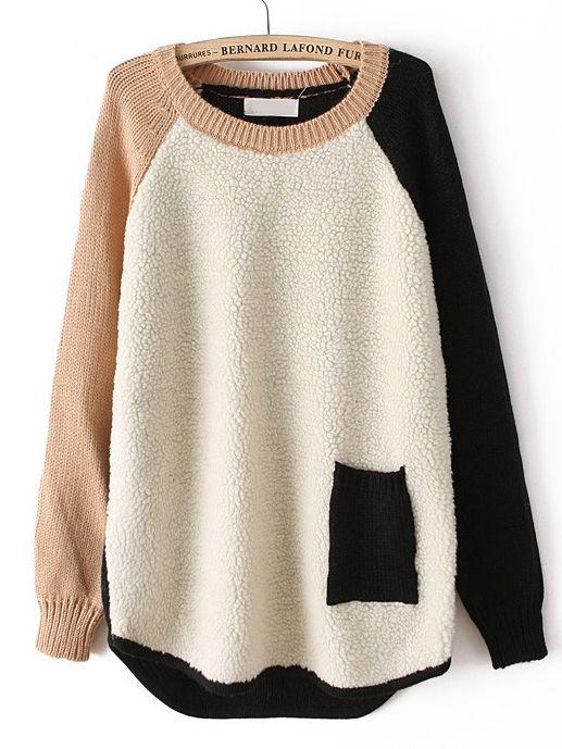 Beige Contrast Long Sleeve Pocket Loose Sweater - Sheinside.com