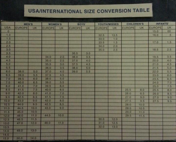 USA/International shoe size conversion table