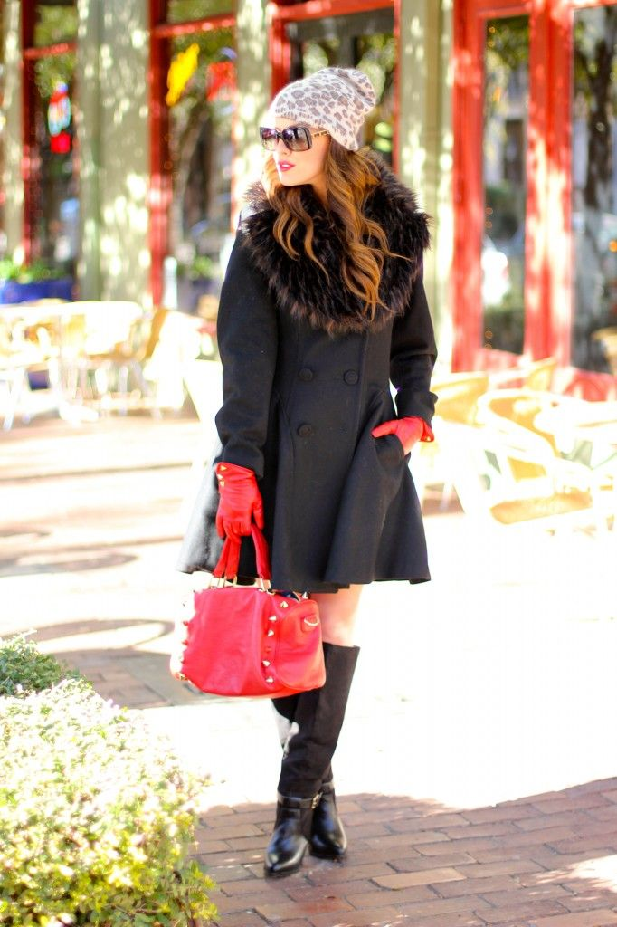 """Coat: ASOS, old (This year's similar version); Swing Dress: ASOS, Boots: Zara; Beanie: H (Similar at ASOS, Similar at Nordstrom, Similar at Zappos); Gloves: C Wonder; Bag: Deux Lux (from OpenSky Collection with Possessionista!); Sunglasses: Chanel, old; Lips: Stila """"Natasha"""""""
