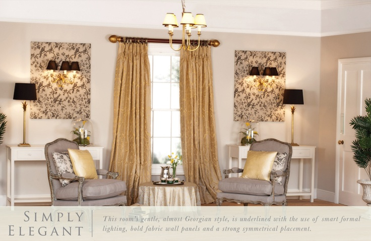 """Our """"Simply Elegant"""" Room scene  has been created to help inspire you in your own home. This room scene concentrates mainly on living room lighting, but the same products can be used to created beautiful bedroom lighting, kitchen lighting or even dining room lighting. www.jim-lawrence.co.uk"""