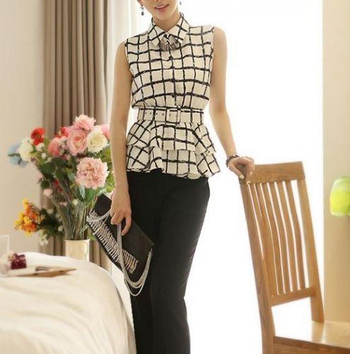 Easiness Plaid sleeveless chiffon- -Shirt  Shirts from stylishplus.com