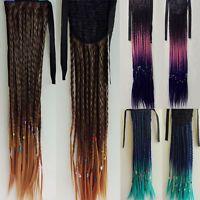 Harajuku Braided Long Straight Ponytail Clips Headband Hair Extension Hairpiece