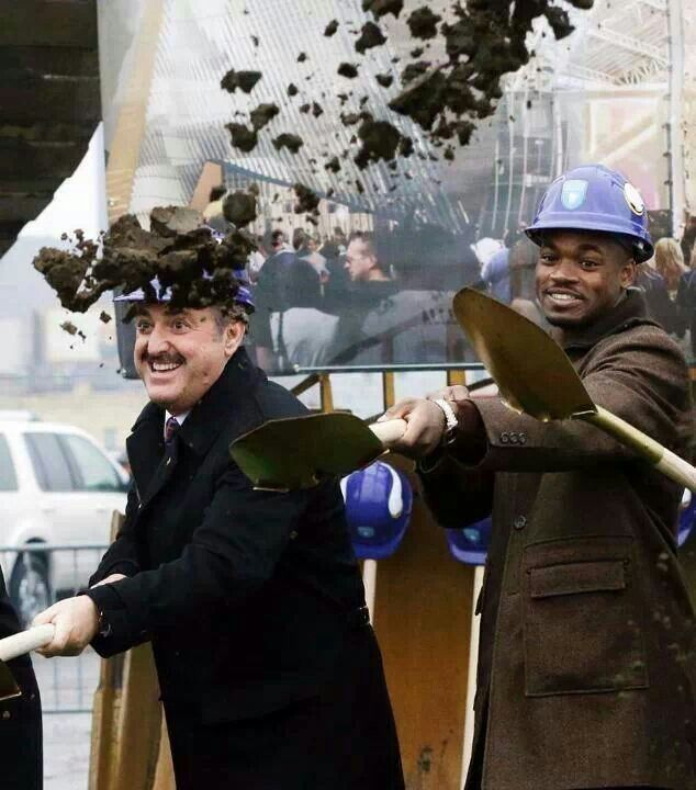 Zygi wilf and Adrian Peterson celebrating the new stadium groundbreaking! Skol!! I can not wait!!