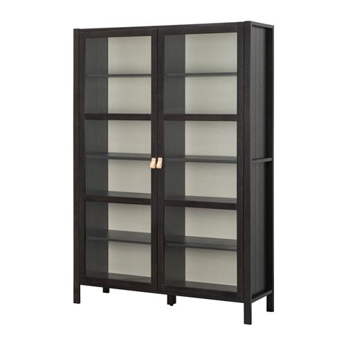 BJÖRKSNÄS Glass-door cabinet with 2 doors IKEA Solid wood is a durable natural material. 1 stationary shelf for high stability.[$350]