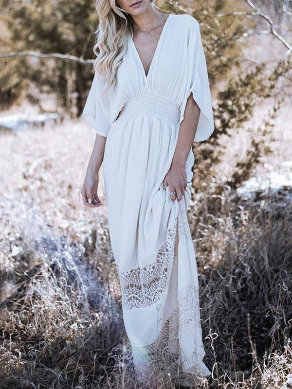 b98c101be14 Bohemia Hollow V-neck V-back Maxi Dress in 2019 | fashion | Maxi ...