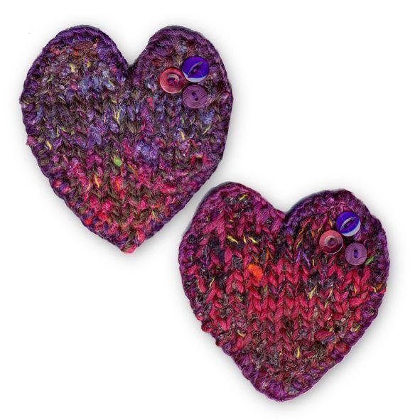 Two  Heart Shaped Coasters - Purple