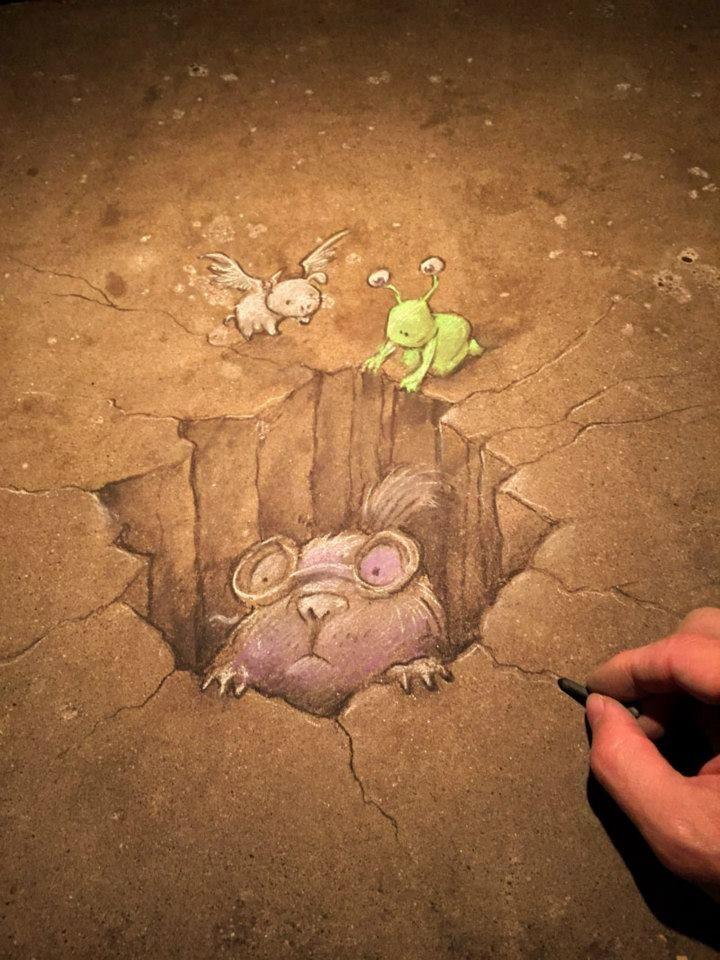 Best Art By David Zinn Images On Pinterest David Zinn Urban - David zinns 3d chalk art adorably creative