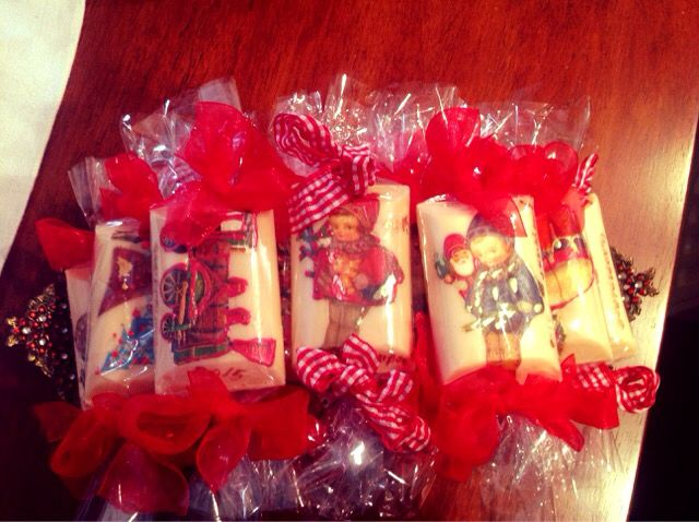 Small soaps with decoupage ,Christmas theme , just for bathroom decoration