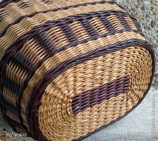 Поделка изделие Плетение Корзина для пикника Бумага газетная Проволока Трубочки бумажные фото 8
