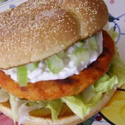 """Buffalo Chicken Burgers with Blue Cheese Dressing 