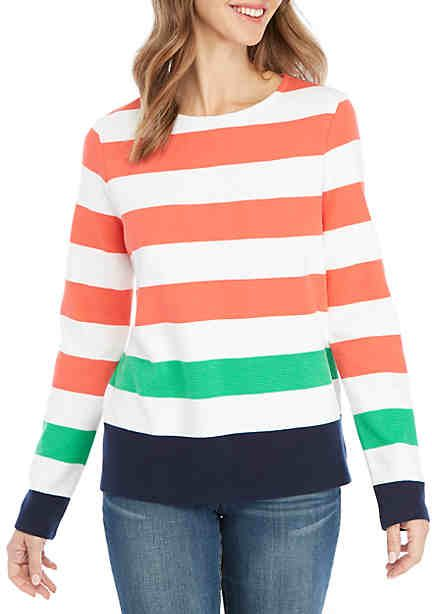 547547cb666 Crown & Ivy™ Long Sleeve Stripe Textured Top | Fashionista in 2019 ...