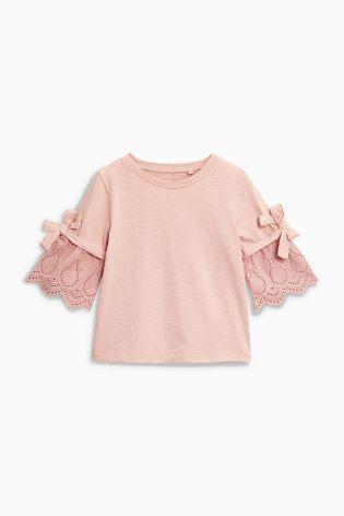 Розовый Топ с длинным рукавом и вышивкой (3-16 лет)