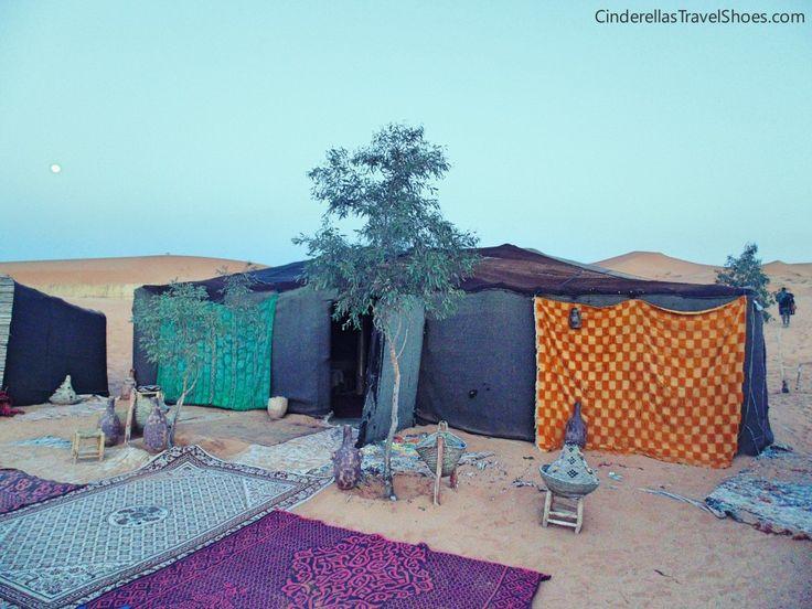 Tents in Sahara desert in Morocco during sunrise