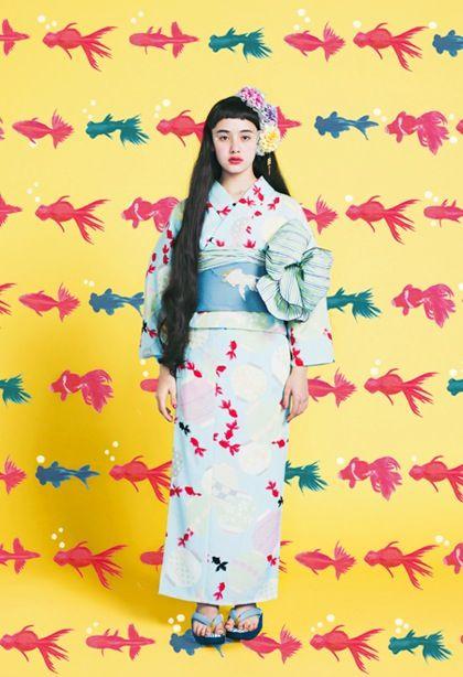 "Yukata ゆかた ""bonbori kingyo"" ぼんぼり金魚 (Paper lantern goldfish) - Furifu ふりふ collection 2014"