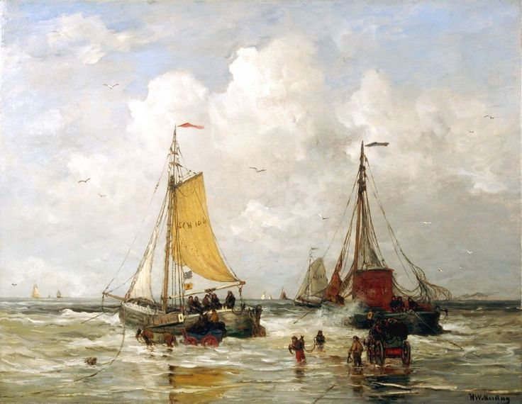 "Hendrik Willem Mesdag (1831 – 1915) dutch painter: ""Loading the Ships"""