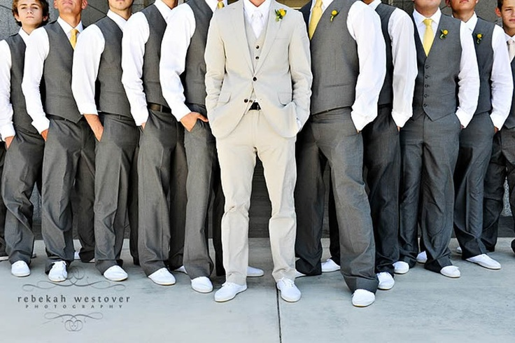 Groomsmen Outfit. Slate grey groomsmen with green and black ...