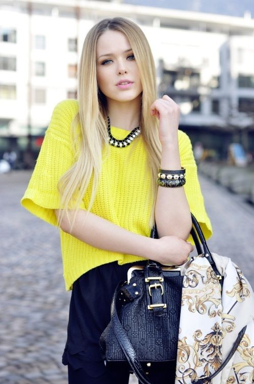 yellow: Street Fashion, Yellow Shirts, Ombre Hair, Street Style, Autumn Style, Fashion Blog, Bright Lights, Bold Colors, Bright Yellow