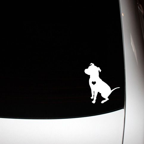 """Adore-a-bull Pit Bull decal. Available in white and hot pink.  Measures approx. 4"""".    Vinyl is rated 5-7 Years outdoors, nearly forever for indoor use.  Decals are Fade Proof, Scratch Resistant, and perfect for any flat surface.  Works great as a window decal or even on laptops!"""