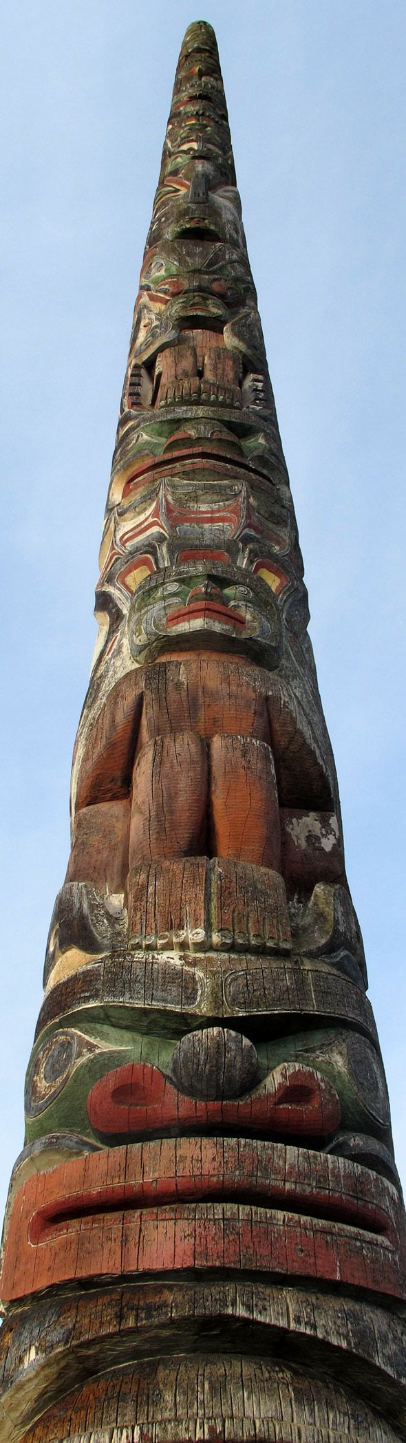 Totem pole in Vancouver, British Columbia - Totem poles are distinctive to First Nations cultures on the Pacific coast (i.e. not all First Nations groups have them - surprise, surprise!), so they can be seen all over British Columbia as a part of provincial identity.