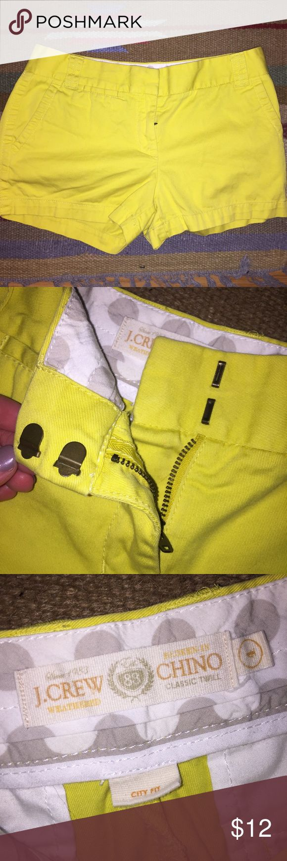J Crew canary yellow shorts size 4 women's/misses J. Crew canary yellow shorts. Size women 4. 'City fit'. Back pockets. Zipper in front with double clasps. No stains/holes. J. Crew Shorts