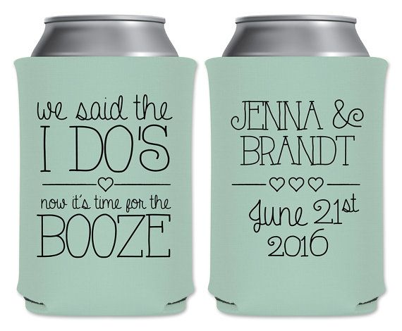 "Wedding Can Coolers Beverage Insulators Koozies Personalized Wedding Favors - We Said The I Do's Now It's Time For The Booze - Hearts Style Coozies by ""ThatWedShop"" on Etsy 