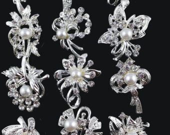 Lot 40pcs Crystal Rhinestone Brooch Pins Wedding Brooch