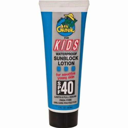 Aloe Gator Lil Gator 1 oz Sunscreen - Waterproof SPF 40 Kids Sun Care by Aloe Gator. $5.04. Last 8 full hours. UVA-UVB protection. Non-greasy & invisible. Waterproof. PABA free. Designed for kids or others with sensitive skin. PABA free, SPF 40 sunscreen is non-irritating and offers maximum protection.