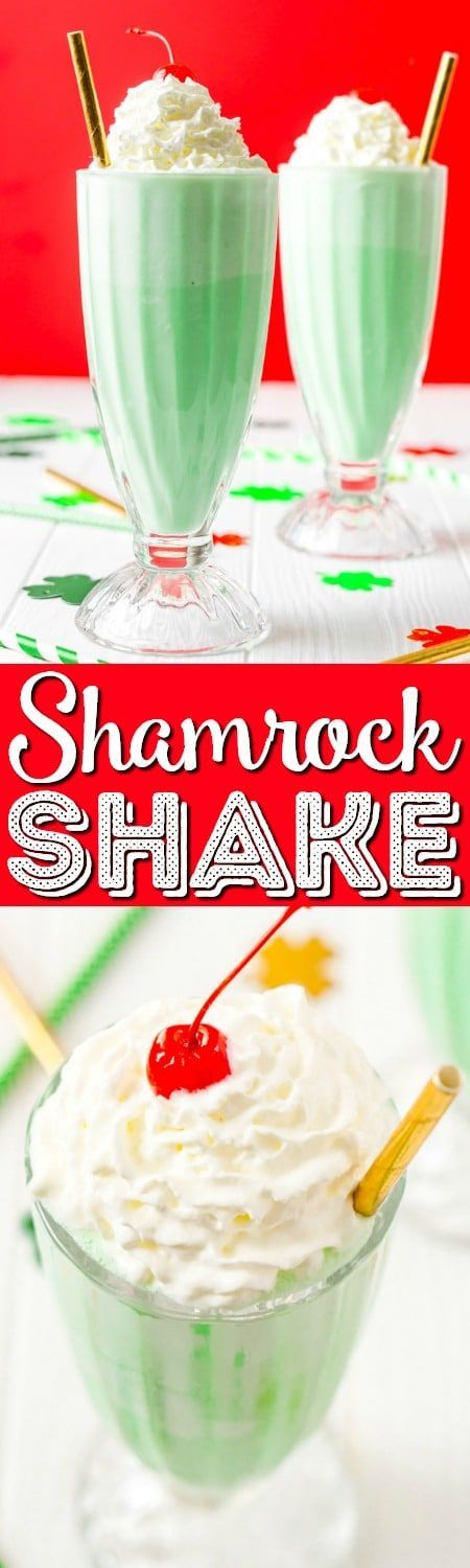 This Shamrock Shake is a McDonald's Copycat recipe that tastes just like the real thing! A thick and sweet vanilla mint shake for St. Patrick's Day! #stpatricksday #mint #vanilla #milkshake #shamrock