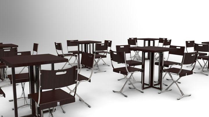 Terraza con mesas Grace G720 bajas sin luz y sillas trievi.